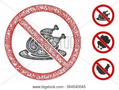 Mesh No Chicken Dish Polygonal Web Symbol Vector Illustration. Model Is Based On No Chicken Dish Fla