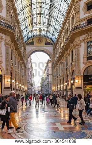Milan, Italy, September 29, 2015 : The Interior Of The Galleria Vittorio Emanuele Ii - Mall Housed I
