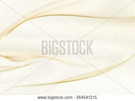 Abstract Gold Lines On White Vector Background. Golden Wavy Guilloche Pattern Useful For Certificate