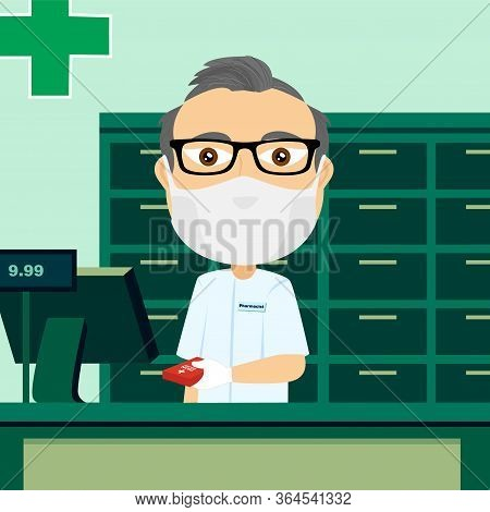 Caucasian Male Pharmacist Behind Counter With Protective Mask White Glove Cash Register And Medicati