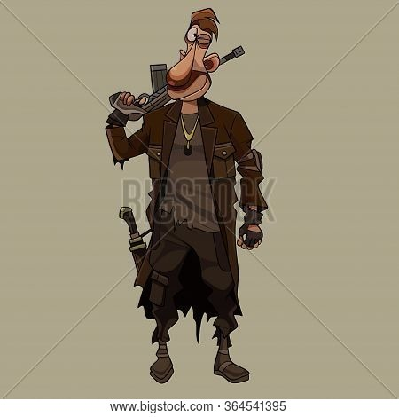 Cartoon Armed Man In Post Apocalypse Clothes With Gun On His Shoulder