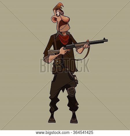 Cartoon Man In Clothes Of Post Apocalypse Stands With Gun In His Hands