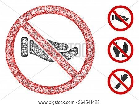 Mesh No Petition Hand Polygonal Web Icon Vector Illustration. Model Is Based On No Petition Hand Fla