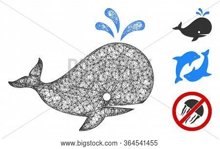 Mesh Whale Polygonal Web Icon Vector Illustration. Carcass Model Is Based On Whale Flat Icon. Triang
