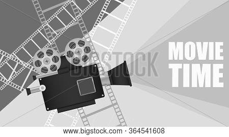 Film Festival Banner In Retro Style. Film Festival With A Retro Camera And Film Strip. Vector, Carto