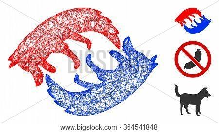 Mesh Dog Eat Dog Polygonal Web Icon Vector Illustration. Carcass Model Is Based On Dog Eat Dog Flat