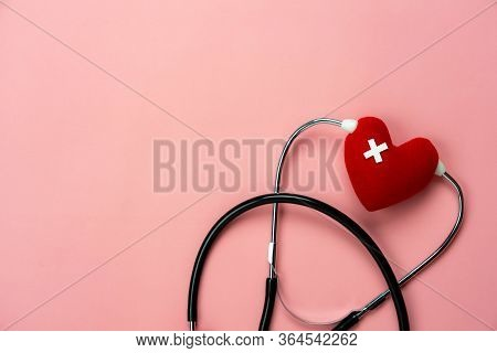 Table Top View Aerial Image Of Accessories Healthcare & Medical With Valentines Day Background Conce