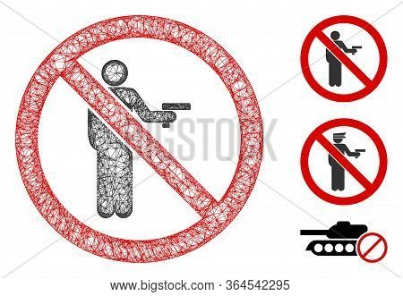 Mesh No Gun Using Polygonal Web Icon Vector Illustration. Carcass Model Is Based On No Gun Using Fla