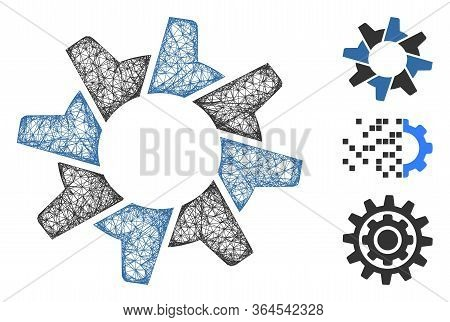 Mesh Tooth Gear Polygonal Web Icon Vector Illustration. Model Is Based On Tooth Gear Flat Icon. Tria