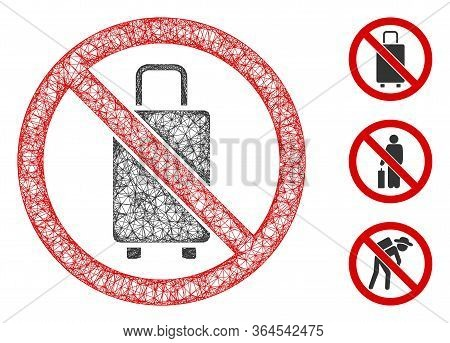 Mesh No Baggage Polygonal Web Icon Vector Illustration. Carcass Model Is Created From No Baggage Fla