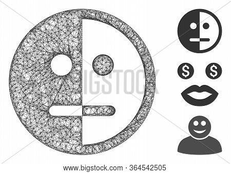 Mesh Bipolarity Face Polygonal Web Icon Vector Illustration. Carcass Model Is Based On Bipolarity Fa