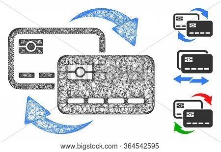 Mesh Bank Card Exchange Polygonal Web Symbol Vector Illustration. Carcass Model Is Based On Bank Car