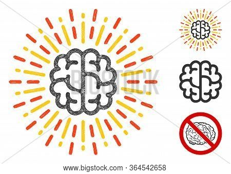 Mesh Brain Radiance Polygonal Web Icon Vector Illustration. Carcass Model Is Based On Brain Radiance