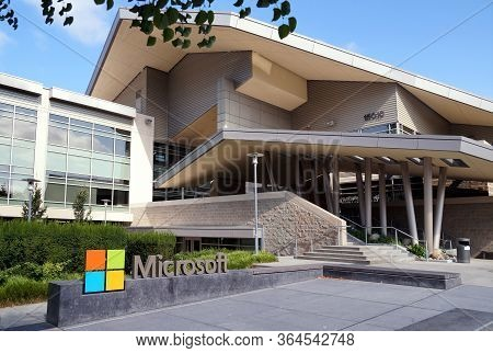 Company Logotype - Microsoft Corporation Headquarters. Redmond. Washington State, Usa. August 2019.