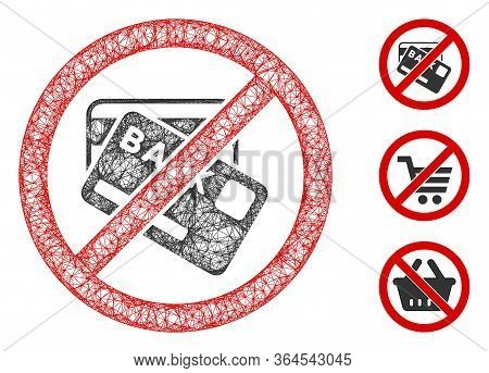 Mesh No Credit Cards Polygonal Web Icon Vector Illustration. Carcass Model Is Created From No Credit