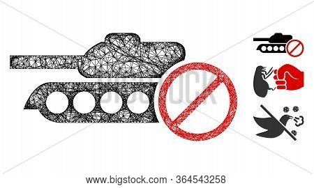 Mesh No Tanks Polygonal Web Icon Vector Illustration. Carcass Model Is Based On No Tanks Flat Icon.