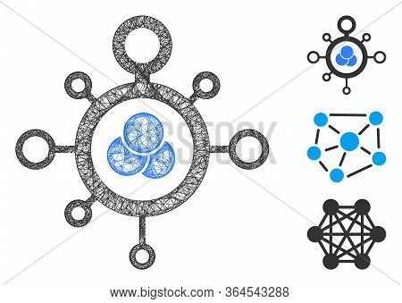 Mesh Molecule Polygonal Web 2d Vector Illustration. Carcass Model Is Based On Molecule Flat Icon. Tr