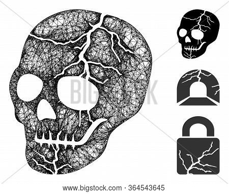 Mesh Old Skull Polygonal Web Icon Vector Illustration. Carcass Model Is Created From Old Skull Flat