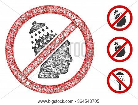 Mesh No Head Shower Polygonal Web Icon Vector Illustration. Abstraction Is Based On No Head Shower F