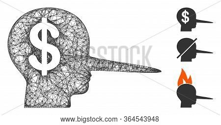 Mesh Financial Scammer Polygonal Web 2d Vector Illustration. Carcass Model Is Based On Financial Sca