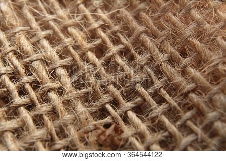 Sackcloth Background Texture. Macro Photography Of Sackcloth Stucture.