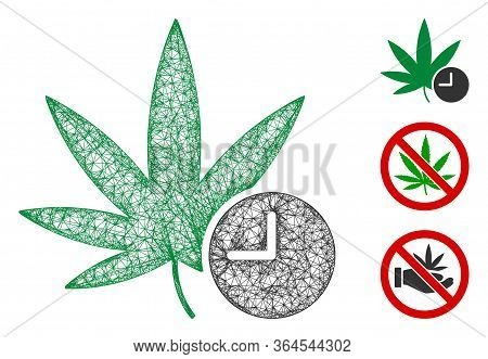 Mesh Weed Time Polygonal Web Icon Vector Illustration. Model Is Based On Weed Time Flat Icon. Triang