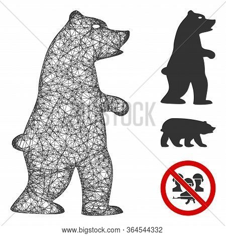 Mesh Standing Bear Polygonal Web 2d Vector Illustration. Abstraction Is Based On Standing Bear Flat
