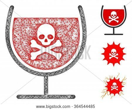 Mesh Poison Drink Glass Polygonal Web Icon Vector Illustration. Model Is Based On Poison Drink Glass
