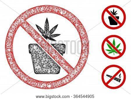Mesh No Cannabis Pot Polygonal Web 2d Vector Illustration. Carcass Model Is Based On No Cannabis Pot