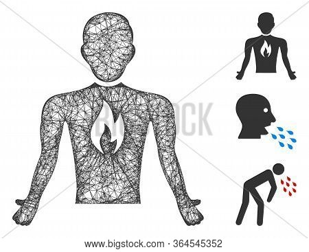 Mesh Chest Pain Polygonal Web 2d Vector Illustration. Carcass Model Is Based On Chest Pain Flat Icon