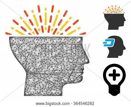 Mesh Imagination Polygonal Web Icon Vector Illustration. Carcass Model Is Based On Imagination Flat