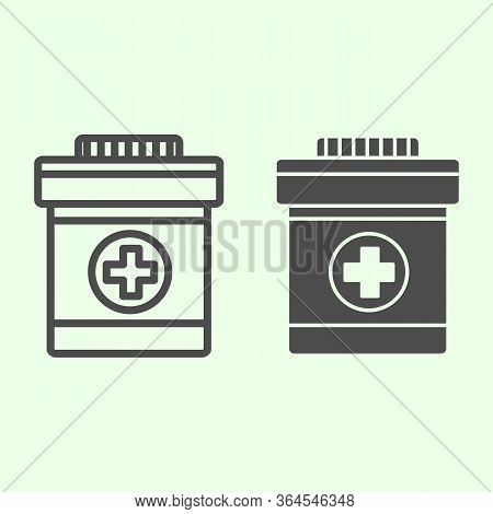 Drug Bottle Line And Solid Icon. Bottle With Cross For Pills Or Vitamins Outline Style Pictogram On