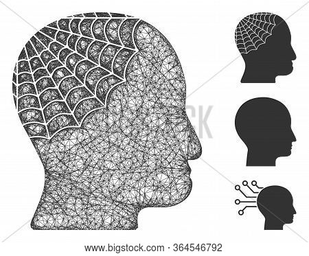 Mesh Conservator Head Polygonal Web 2d Vector Illustration. Carcass Model Is Based On Conservator He