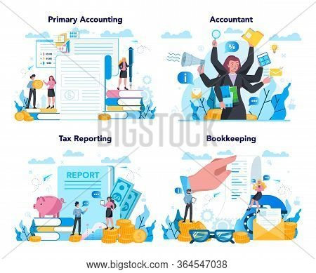 Accountant Office Manager Set. Professional Bookkeeper. Concept Of