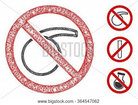 Mesh No Chemical Flask Polygonal Web Icon Vector Illustration. Carcass Model Is Based On No Chemical