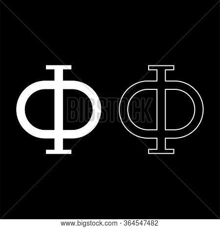 Phi Greek Symbol Capital Letter Uppercase Font Icon Outline Set White Color Vector Illustration Flat