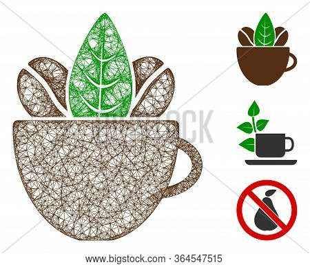 Mesh Fresh Coffee Cup Polygonal Web Icon Vector Illustration. Carcass Model Is Based On Fresh Coffee