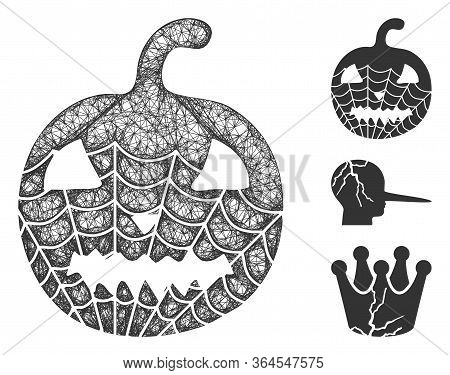 Mesh Old Halloween Pumpkin Polygonal Web 2d Vector Illustration. Model Is Based On Old Halloween Pum