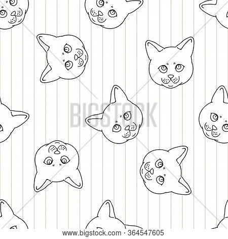 Cute Cartoon Monochrome British Shorthair Kitten Face Seamless Vector Pattern. Pedigree Lineart Kitt