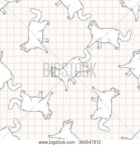 Cute Cartoon Monochrome British Shorthair Cat Seamless Vector Pattern. Pedigree Lineart Kitty Breed