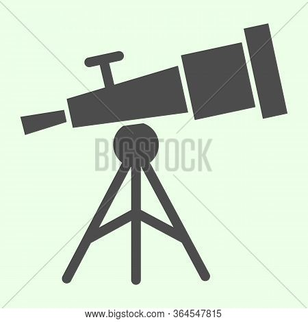 Telescope Solid Icon. Astronomy Observe Planetarium Tool Glyph Style Pictogram On White Background.