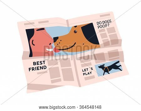 Creased Newspaper Isolated On White Background. Periodical Paper With Various Articles About Dogs. P