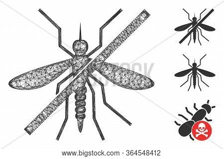Mesh No Mosquito Polygonal Web Icon Vector Illustration. Carcass Model Is Based On No Mosquito Flat