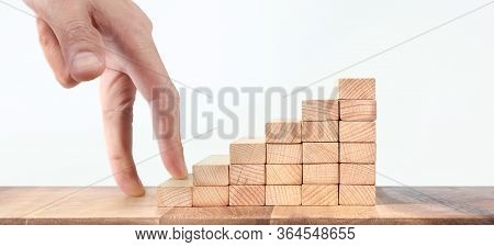 Hand Liken Person Stepping Up  Toy Staircase Wood