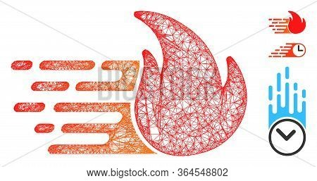 Mesh Express Fire Polygonal Web Icon Vector Illustration. Carcass Model Is Created From Express Fire