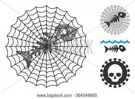 Mesh Dead Fish Net Polygonal Web Icon Vector Illustration. Model Is Based On Dead Fish Net Flat Icon