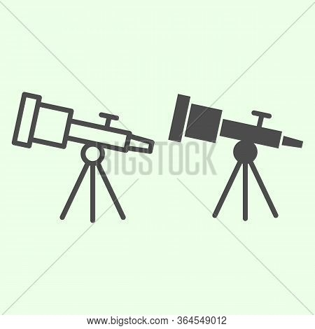 Telescope Line And Solid Icon. Astronomy Telescopes Observe Tool Outline Style Pictogram On White Ba