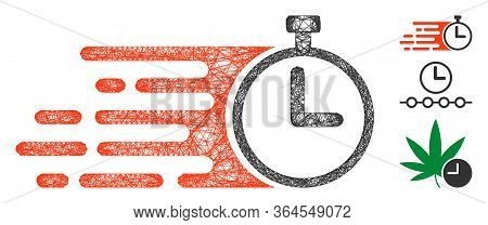 Mesh Rush Stopwatch Polygonal Web Icon Vector Illustration. Model Is Based On Rush Stopwatch Flat Ic