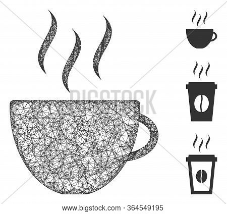 Mesh Coffee Cup Polygonal Web Icon Vector Illustration. Model Is Based On Coffee Cup Flat Icon. Tria