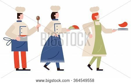 Professional Cooks In Special Uniform And Caps With Cooked Food Vector Illustration